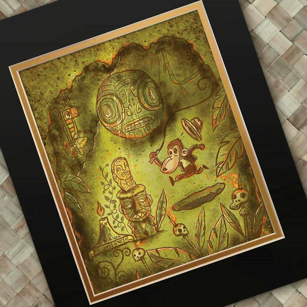 TikiLand Trading Co. 'Adventure Monkey and the Golden Idol' Print with Gold Foil - Ready to Ship - (US shipping included)