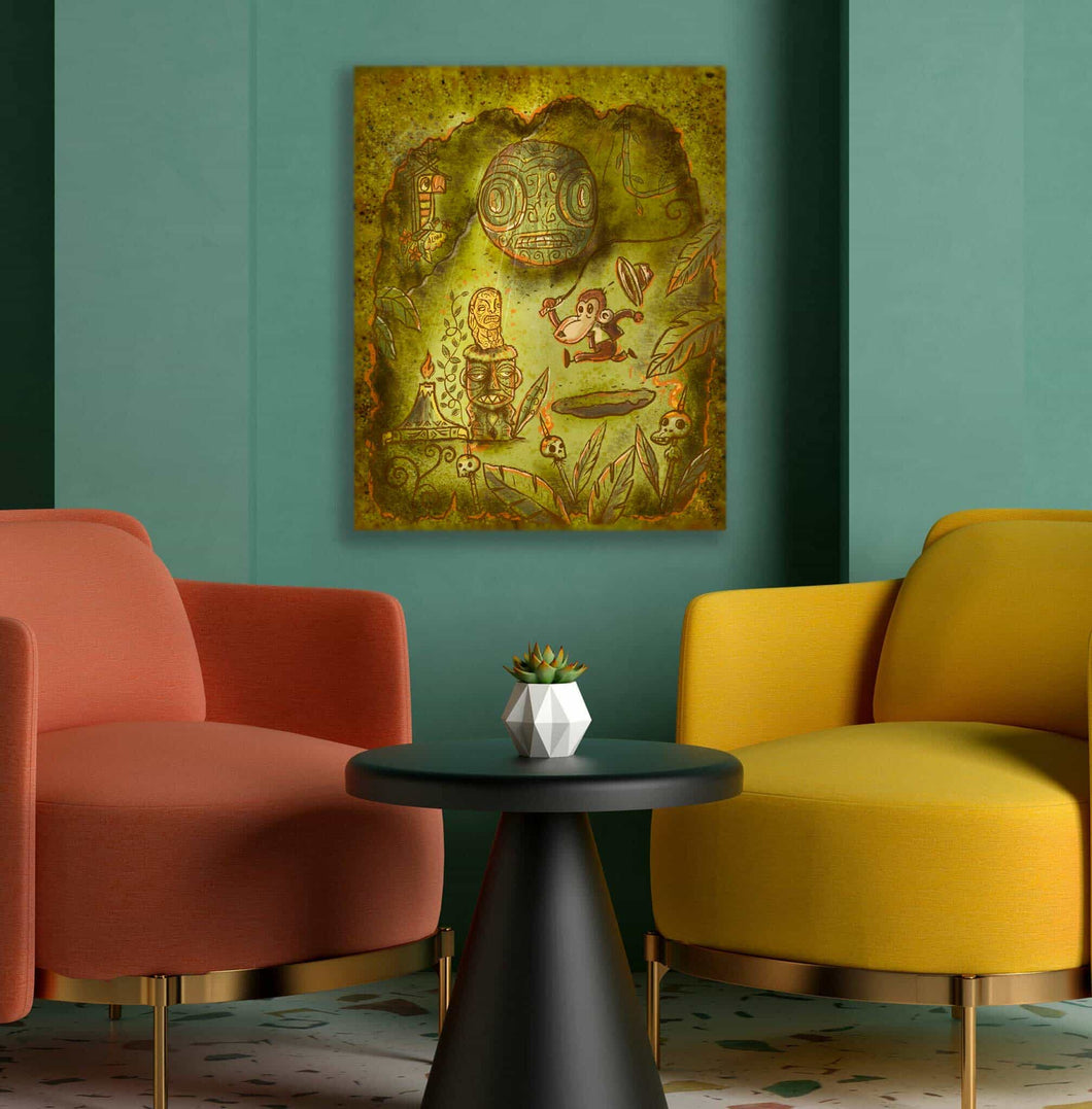 TikiLand Trading Co. 'Adventure Monkey and the Golden Idol' - Autographed Gallery Canvas Giclee - (US shipping included)