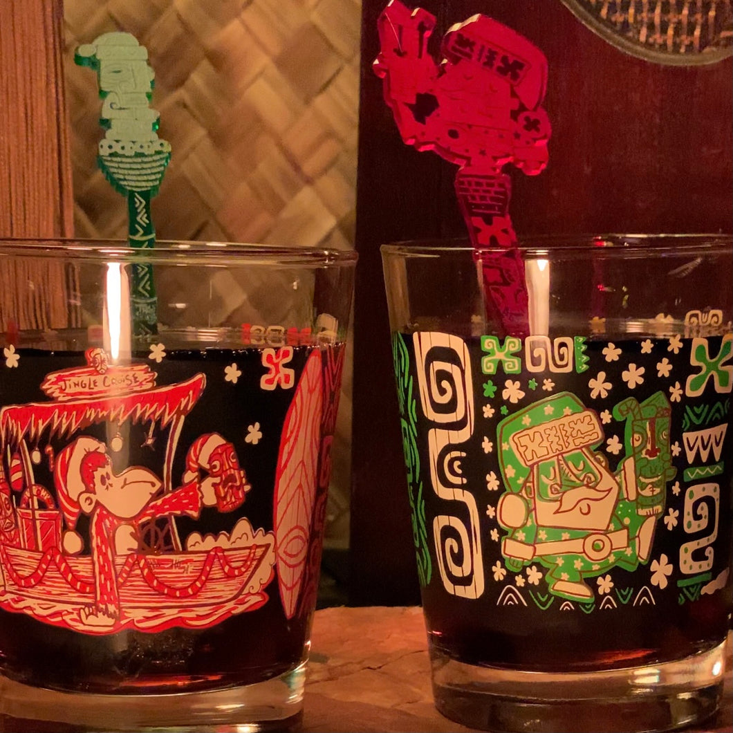 Trader Santa's TikiLand Trading Co. Mai Tai Cocktail Glasses Set designed by artist Tiki tOny (US Shipping Included)
