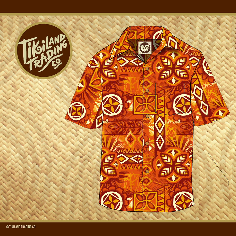 TikiLand Trading Co. 'Alani Tapa Aloha Shirt - Unisex - Ships June 2021 (US shipping included)