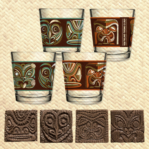 Tikiland Trading Co. 'Expressions of the South Pacific' - Mai Tai Glasses (4) + Coasters (4) Set - Ships starting June 2021