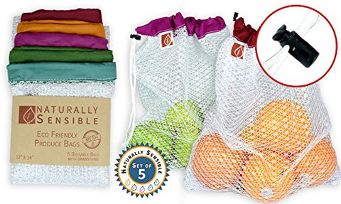 Eco Friendly Reusable Produce Bags - 5 Pack
