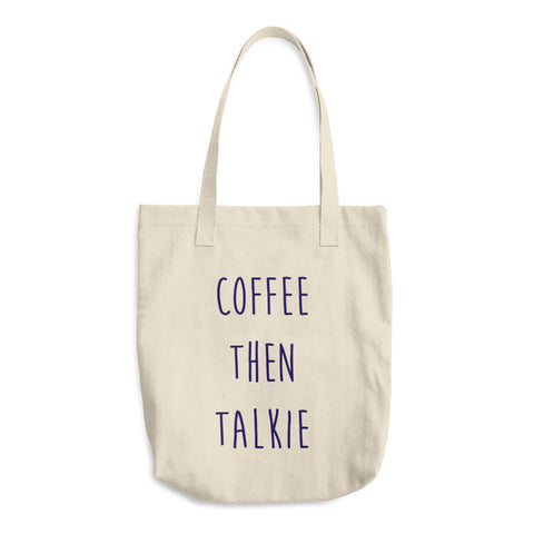 Navy Coffee Then Talkie Cotton Tote Bag