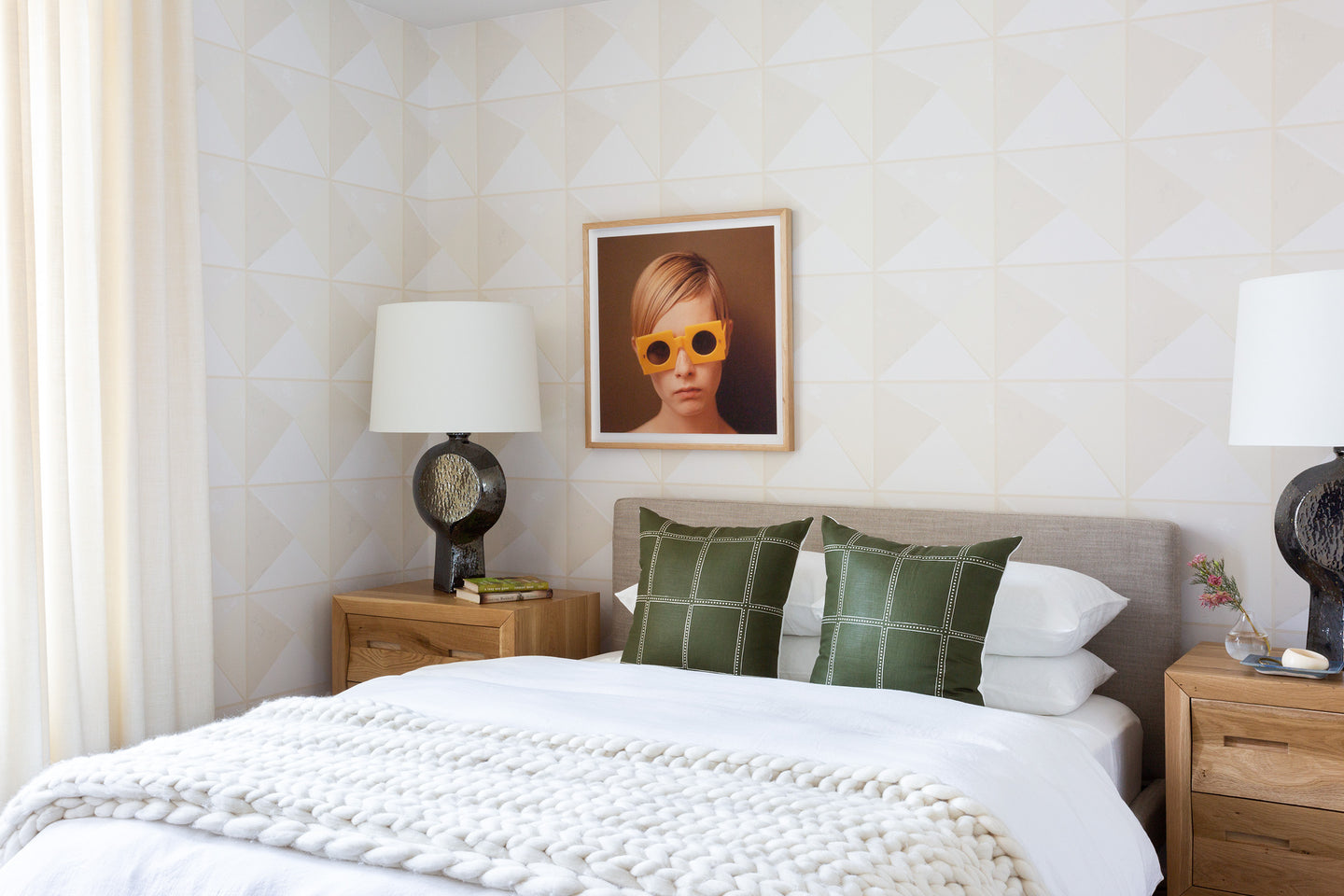 modern stone wallpaper neutral bedroom design seen on lonny magazine