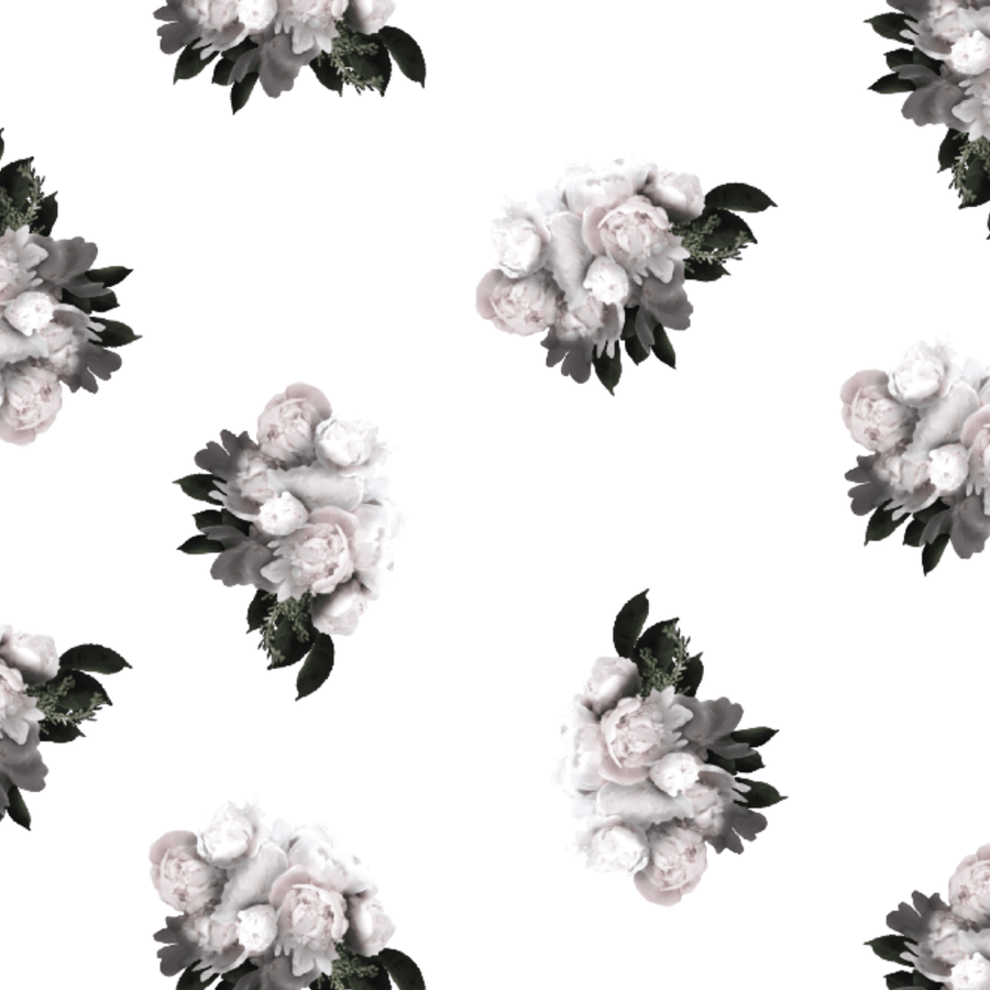Peonies Wallpaper in Blanc