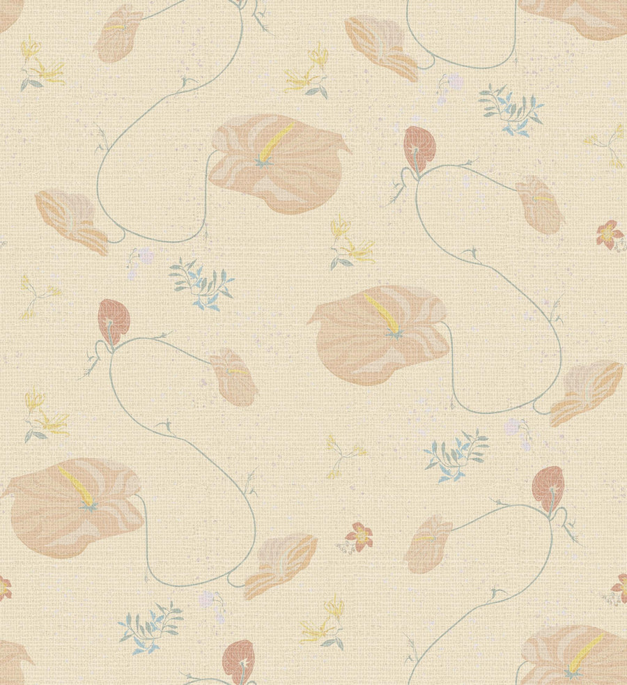 New! Anthurium Waltz Grasscloth Multi Wallpaper in Collins