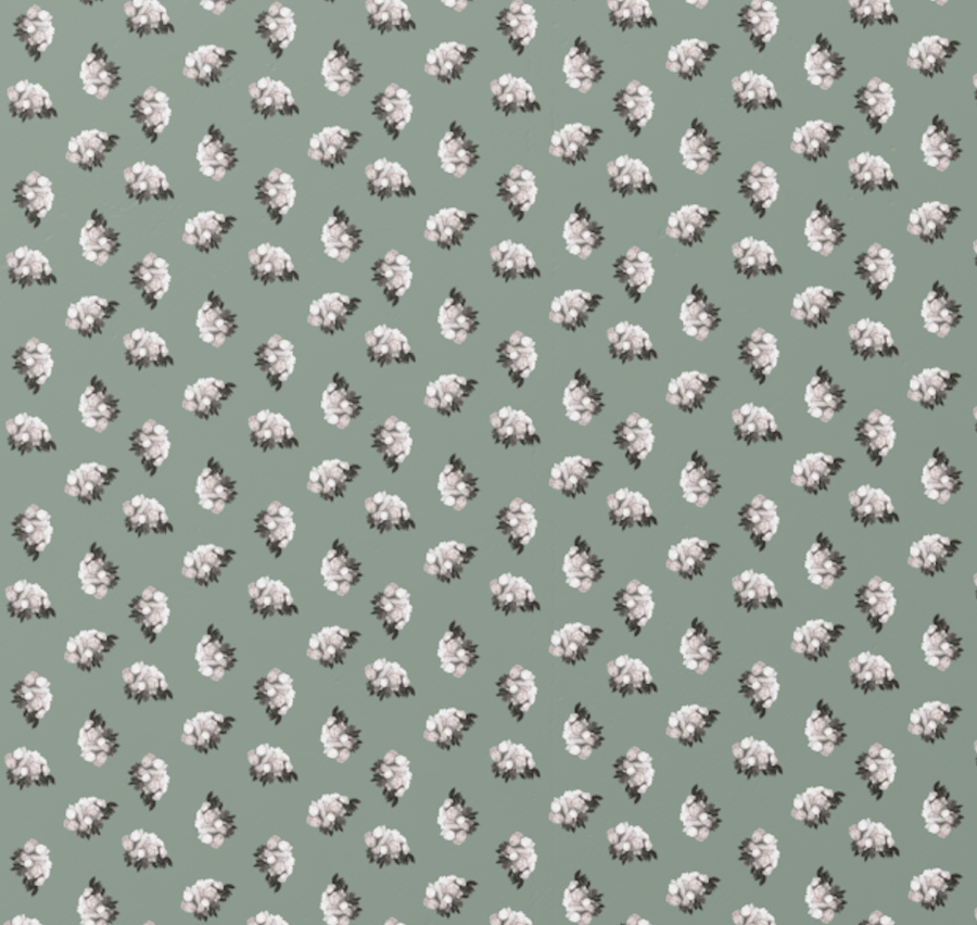 New! Peonies Ditsy Wallpaper in Mineral