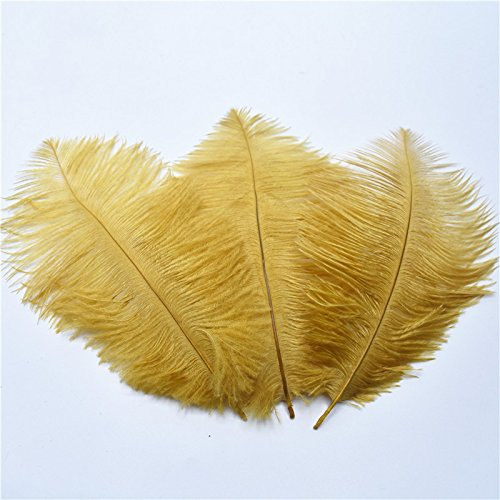 10 Pcs 15-20CM Beautiful cheap Ostrich Feathers for DIY Jewelry Craft Making Wedding Party Decor Accessories Wedding Decoration Gold