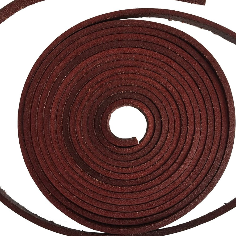 1 piece of 126 Inches Long Square-Cut Leather Lace with Lacing Needle (Wine Red)
