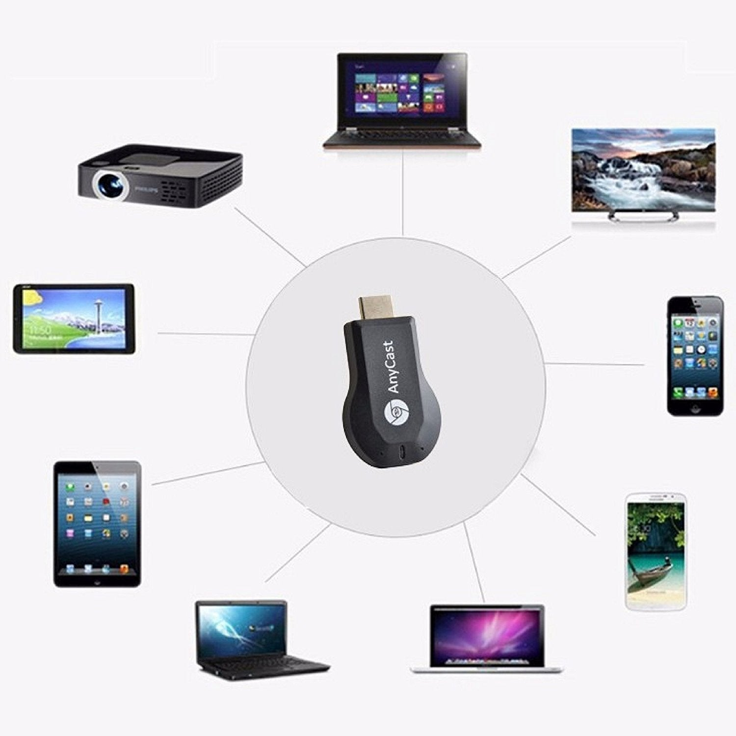 1080p Hdmi Wifi Anycast Adapter Wireless Display Miracast Dongle Toneseas 24g Streaming Media Device Player
