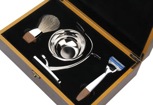 Premium Luxury Shaving Gift Set for Men, Fusion Razor, Bowl, 100% Badger Brush, Razor and Brush Stand, Great Gift Idea for Father Husband or Boyfriend, Beautiful Packed In a Well Presented Gift Box