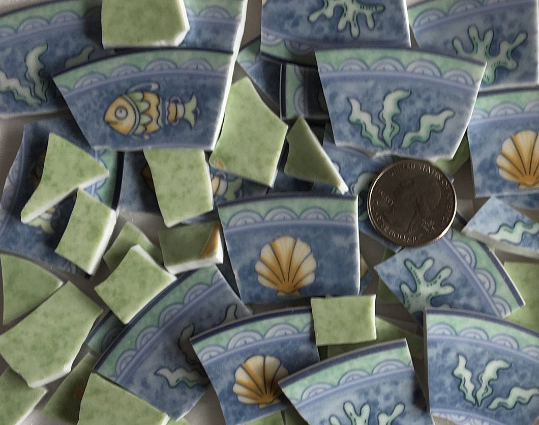 100+ Mosaic Tiles ~ China / Ceramic / Stoneware / Broken Dishes and Plate Pieces ~ Art Supply Tile for Mosaics and Craft ~ Fish Seashells and Ocean Plants (T#393_2)