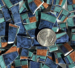 100+ Mosaic Tiles ~ China / Ceramic / Stoneware / Broken Dishes and Plate Pieces ~ Art Supply Tile Made for Mosaics and Craft ~ Modern Graphic Colorful Abstract Patterned Tiles Blue Aqua (T#394_2)