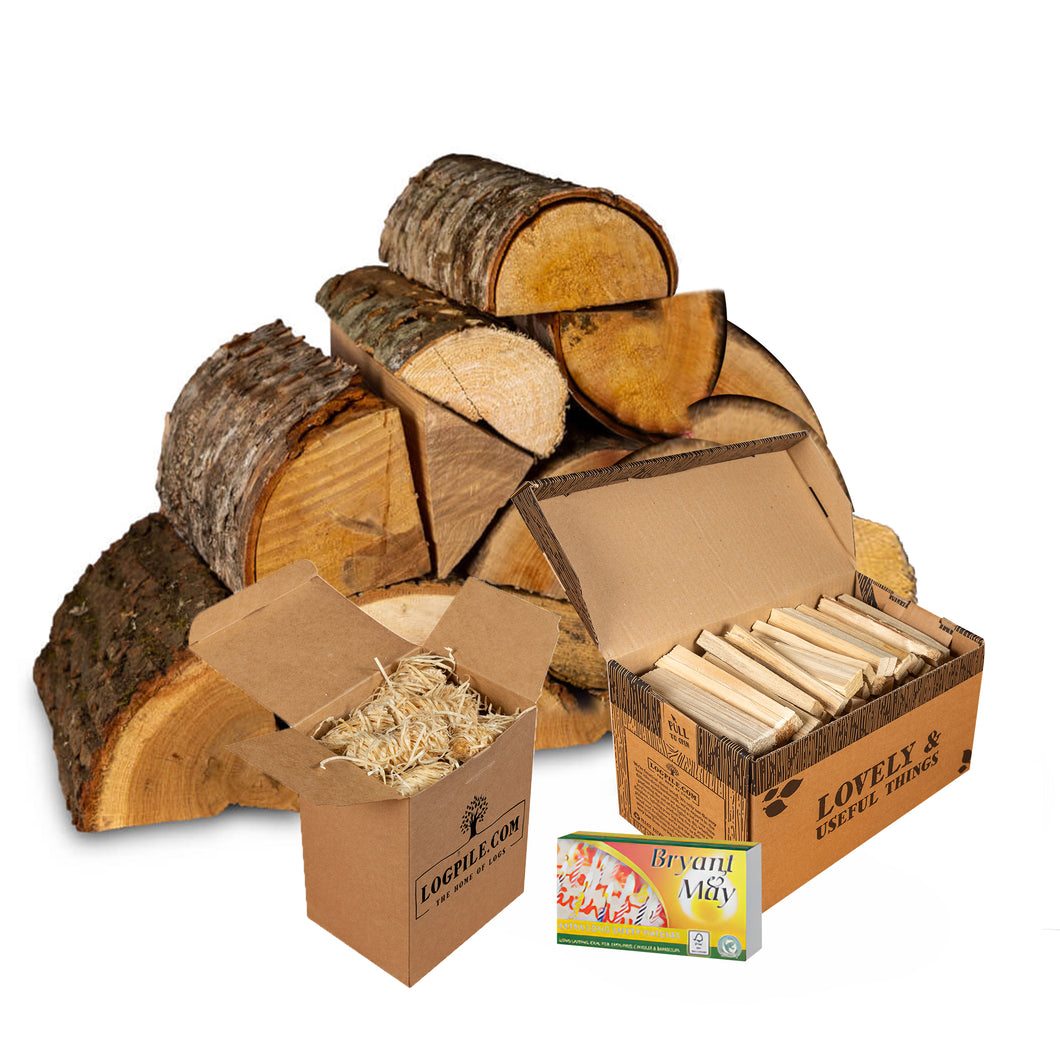 Chiminea Starter Kit. Kiln Dried Hardwood Logs, Kindling, Firelighters and Matches