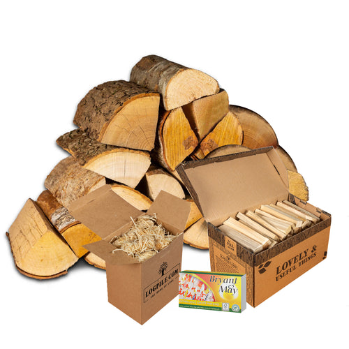 Fire Pit Starter Kit. Kiln Dried Hardwood Logs, Kindling, Firelighters and Matches