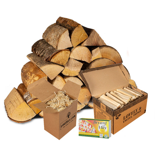 Pizza Oven Starter Kit. Pizza Oven Hardwood Logs, Kindling, Natural Firelighters and Matches