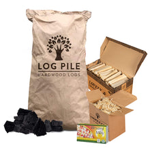 Load image into Gallery viewer, BBQ Starter Kit. Restaurant Grade Barbecue Charcoal, Kindling, Matches and Natural Firelighters
