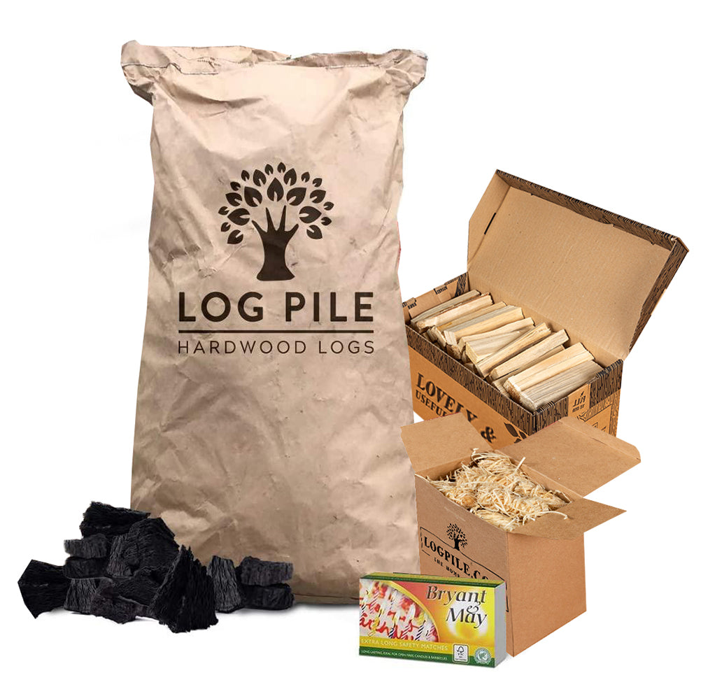 BBQ Starter Kit. Restaurant Grade Barbecue Charcoal, Kindling, Matches and Natural Firelighters