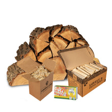 Load image into Gallery viewer, Oak Starter Kit. Kiln Dried Oak Logs, Kindling, Firelighters and Matches