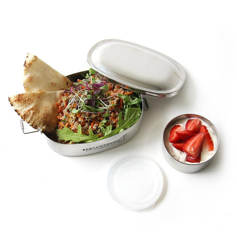 EcoLunchbox- Oval and No Leak Snack cup (Stainless Steel 2 Piece Set)