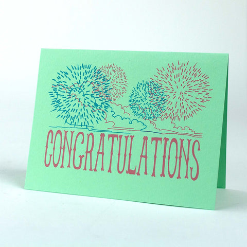Congratulations with Fireworks, silkscreen card set