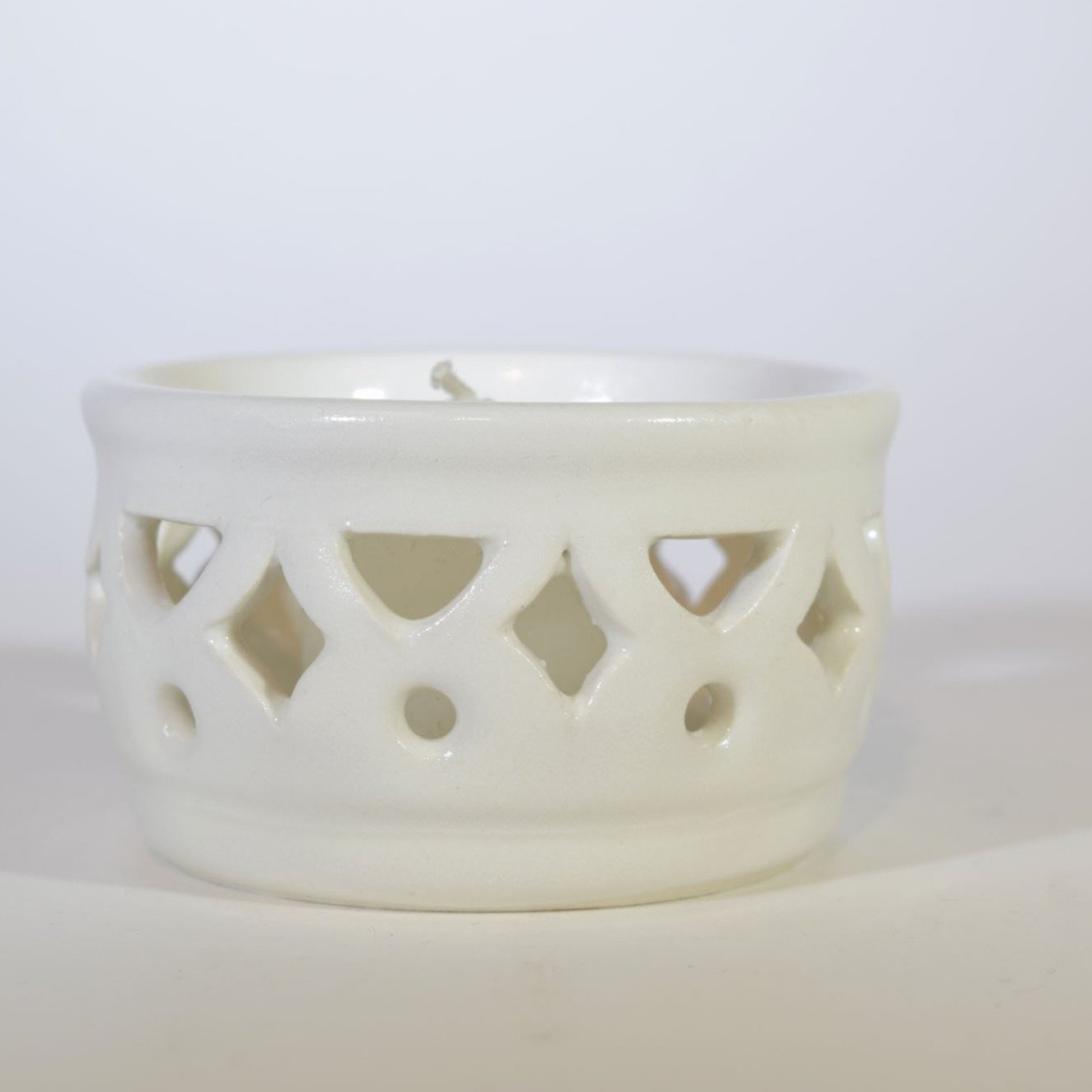 White Cutwork Ceramic Votive Candleholder