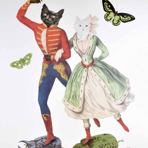 Cat Dancers, collage print