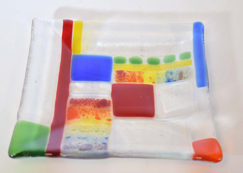 Square Mondrian Inspired Glass Plates