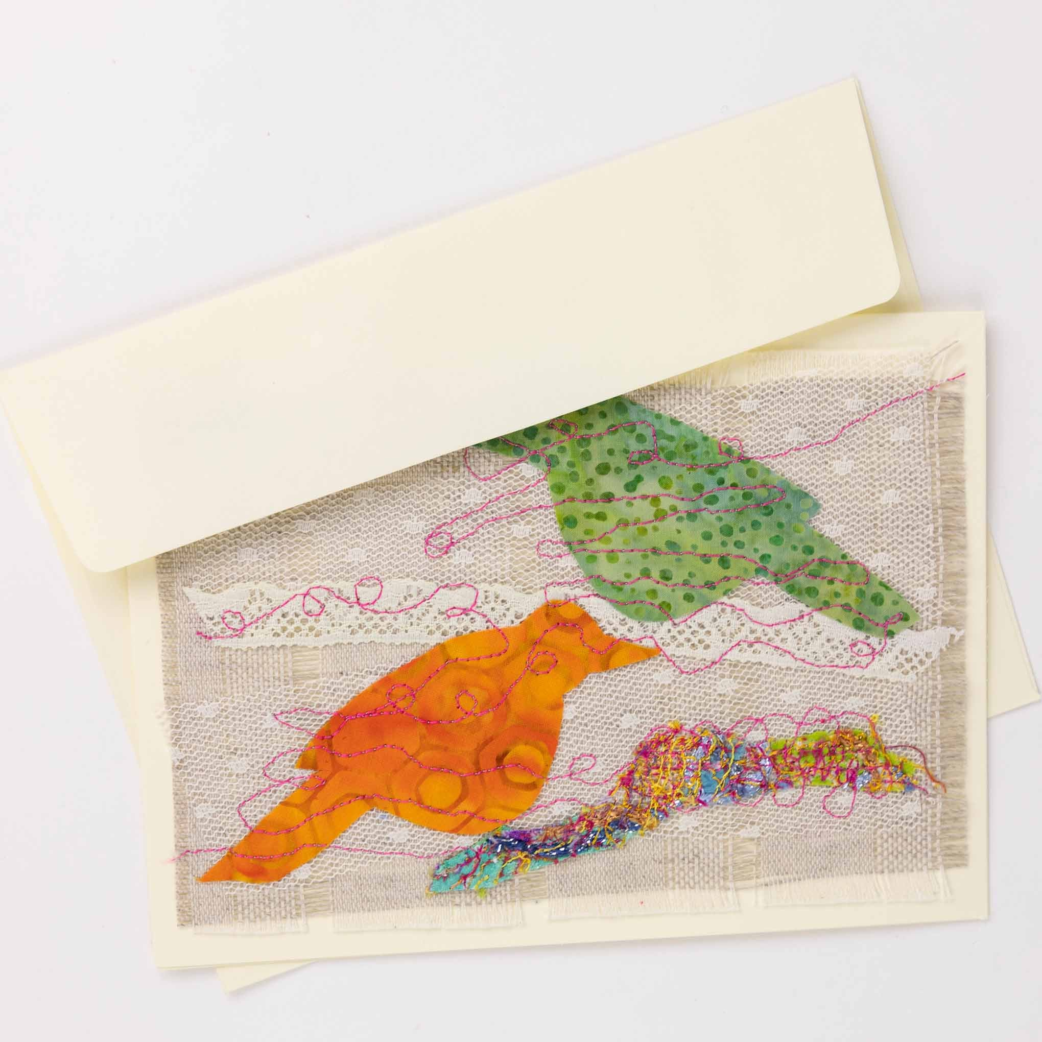Textile Stitched Bird Cards