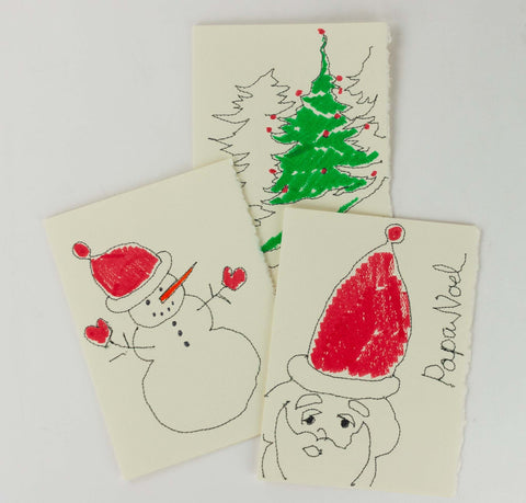 Handmade Christmas Cards - stitched and painted