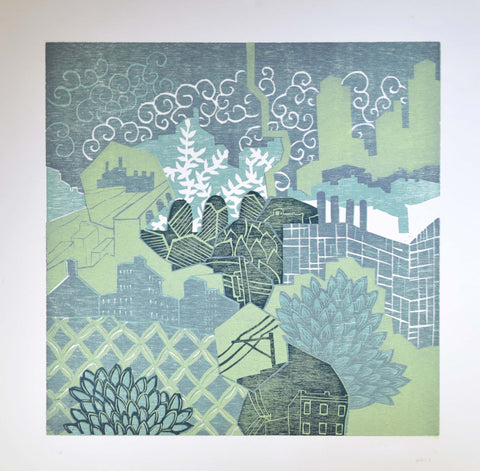 Daydream in Green Cityscape, limited edition reductive woodblock