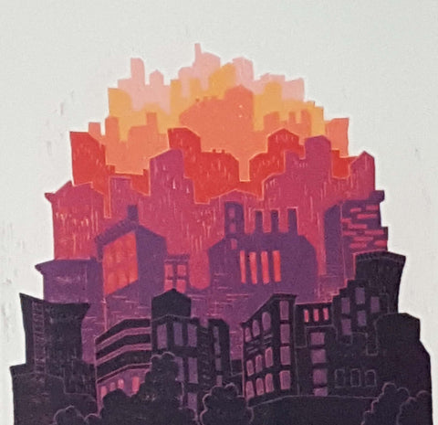 Urban Glow Cityscape, reductive woodblock