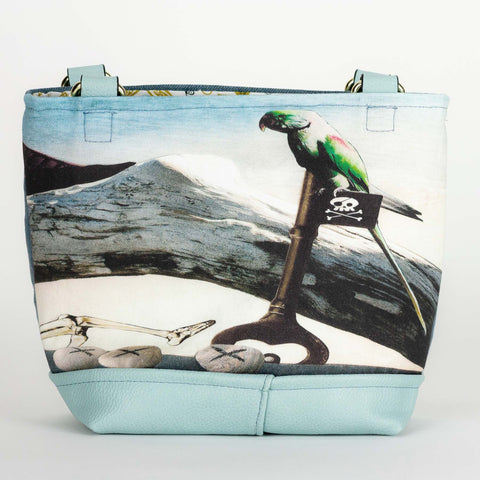 Pirate Beach, soft blue small tote purse