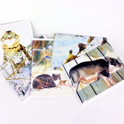 Animal Note Card Set, 5 greeting cards with envelopes