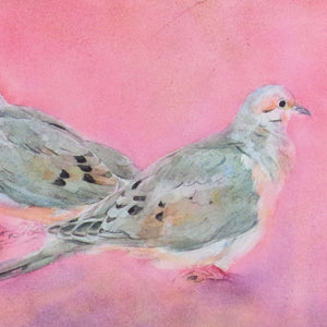 February Mourning Doves, blank greeting card