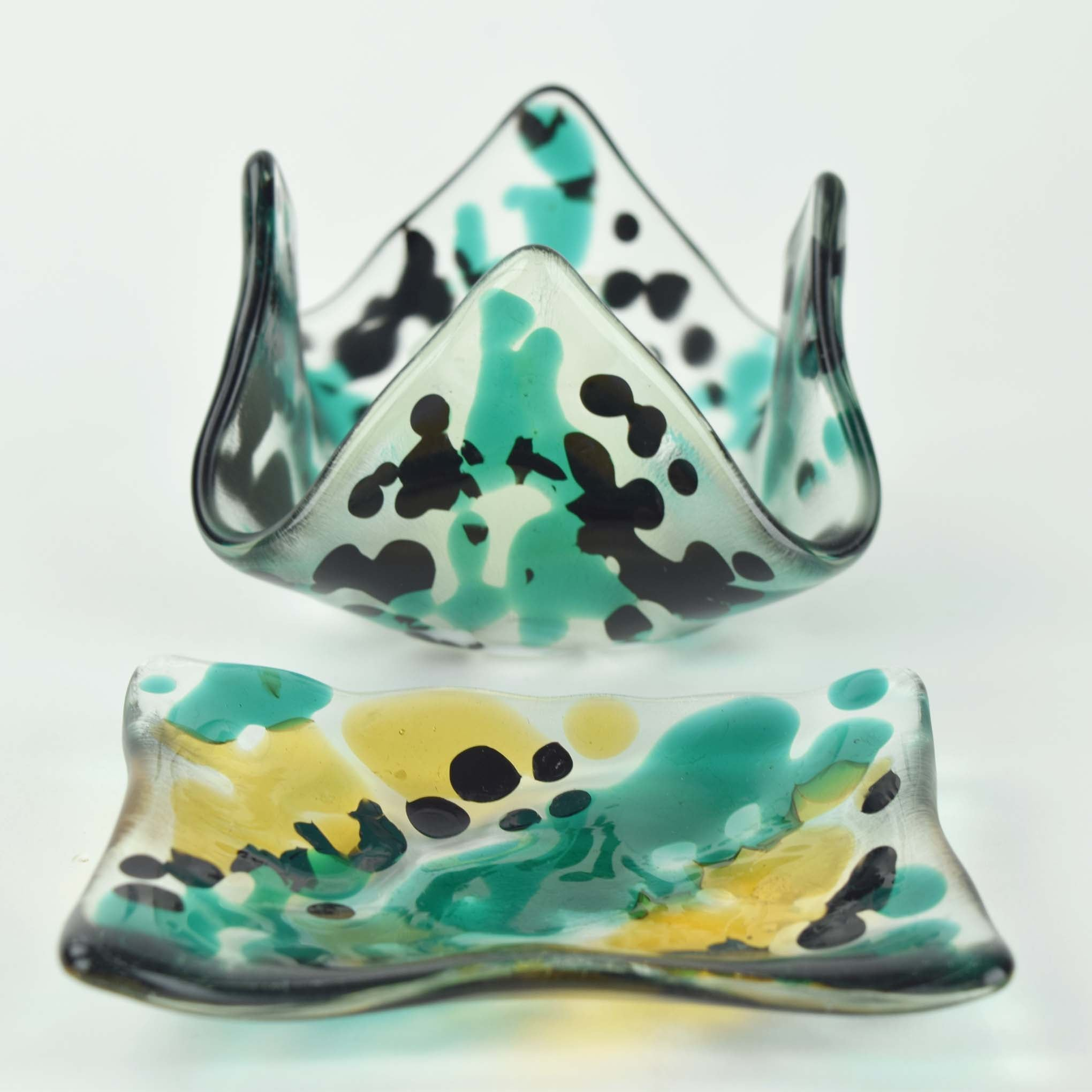 Teal and Black Candle holder and Small Dish