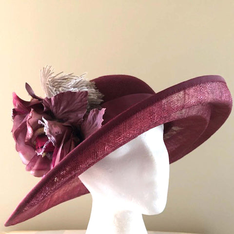 Cranberry Sinamay and Felt Hat