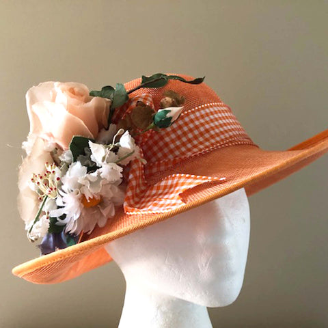 Apricot Sinamay Floral Hat