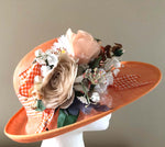 Load image into Gallery viewer, Apricot Sinamay Floral Hat
