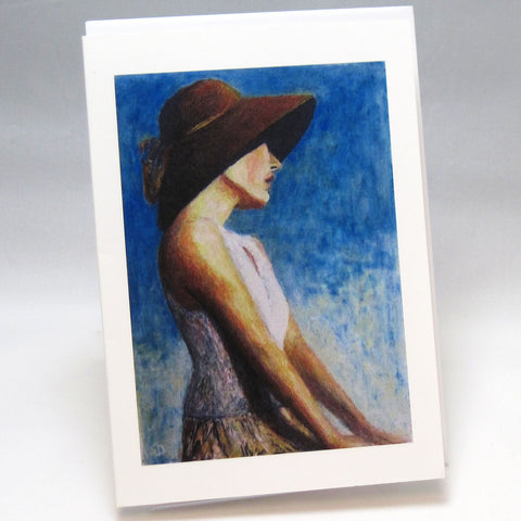 Brown Hat: Fine Art Greeting Card by Stephanie DiMuzio