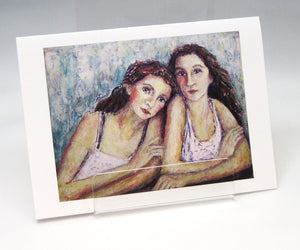 Sisters Head on Shoulders, fine art greeting card