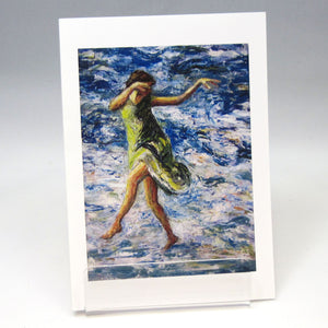 Green Dress Dancer, fine art greeting card