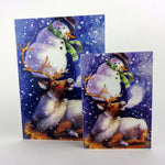 Load image into Gallery viewer, Stephanie Weinger: Reindeer and Snowman Holiday Card