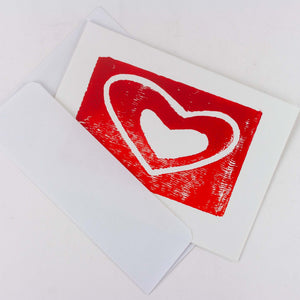 Red Heart - hand block printed