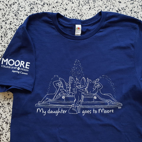 My Daughter Goes to Moore tee in Moore blue