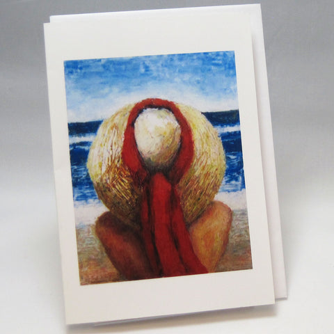 Red Sash Hat: Fine Art Greeting Card by Stephanie DiMuzio
