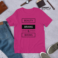 Beauty, Brains, & Books Short-Sleeve T-Shirt