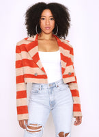 Womens cropped nautical stripped Coat