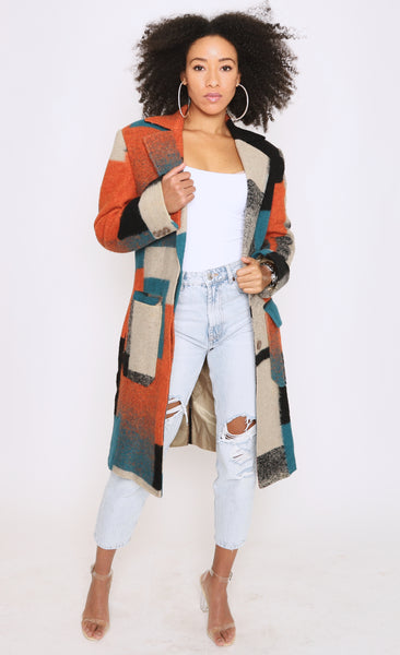 Womens Multicolor Trench Coat