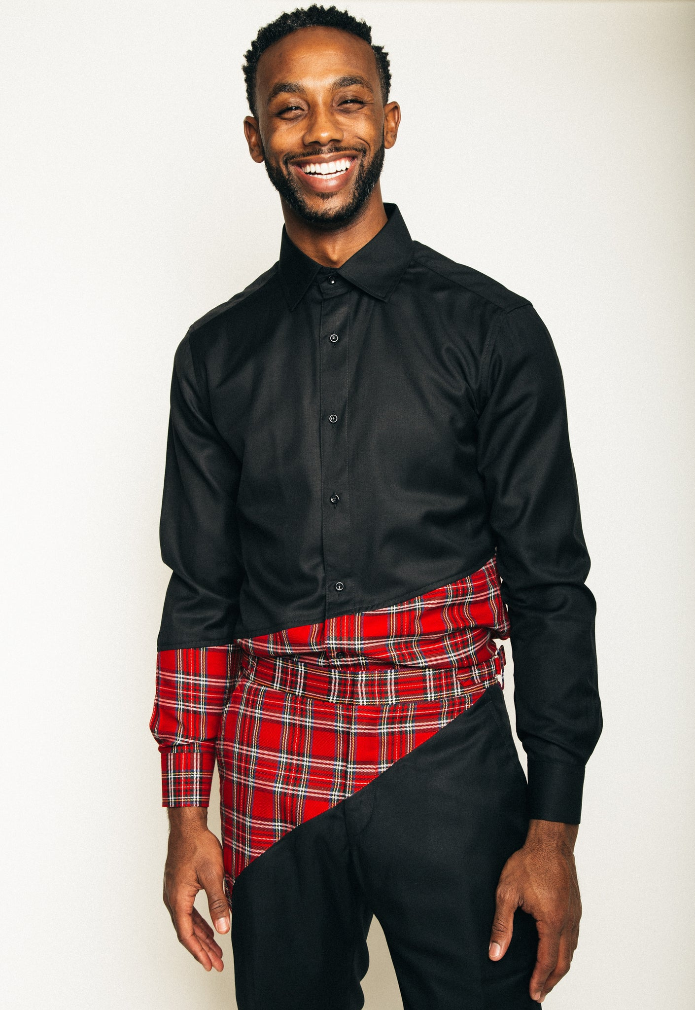 Unisex Pythagorean set Red tartan & Black